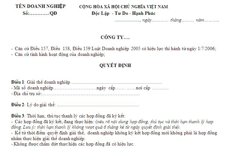 quyet dinh giai the doanh nghiep